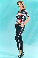 Черные брюки зауженные с лампасом из цветной ткани
