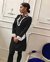 Женское стильное платье с оборками и воротником-стойкой, фото 1