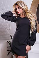 Модное платье трапеция с открытыми плечами и широким рукавом 44-50 размера, фото 1