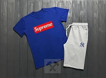 Мужской комплект футболка + шорты Supreme синего и белого цвета