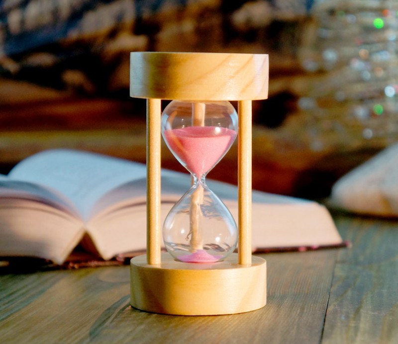 Оригинальные песочные часы 5 минут с розовым песком