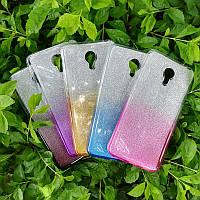 Силиконовый чехол с блестками - градиент для Meizu 15 Plus ( выбор цвета)