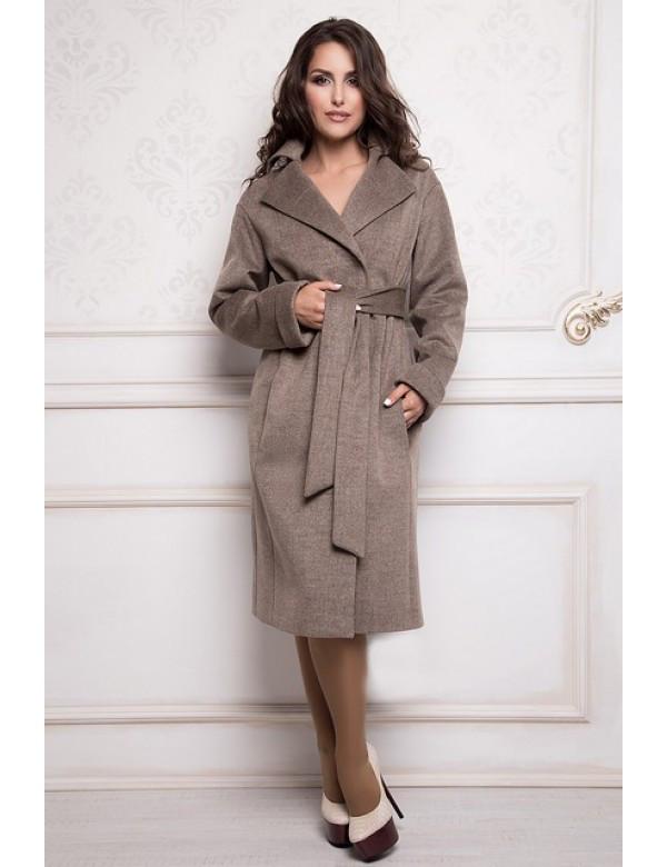 Пальто женское демисезонное  Almatti модель D-246 серый капучино