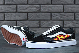 Кеды Vans Old Skool Black/white Flame Fire. Живое фото (Реплика ААА+)