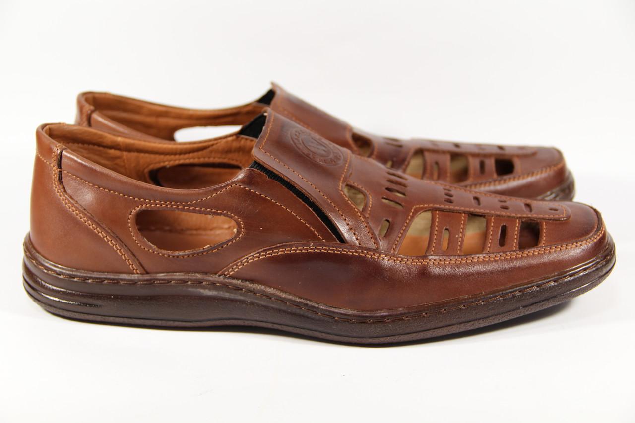 Летние мужские туфли из натуральной кожи на резинке ВОЛ кор +