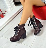 Новинка! Женские стильные демисезонные ботиночки на каблуке цвет вишня, 36-40р.