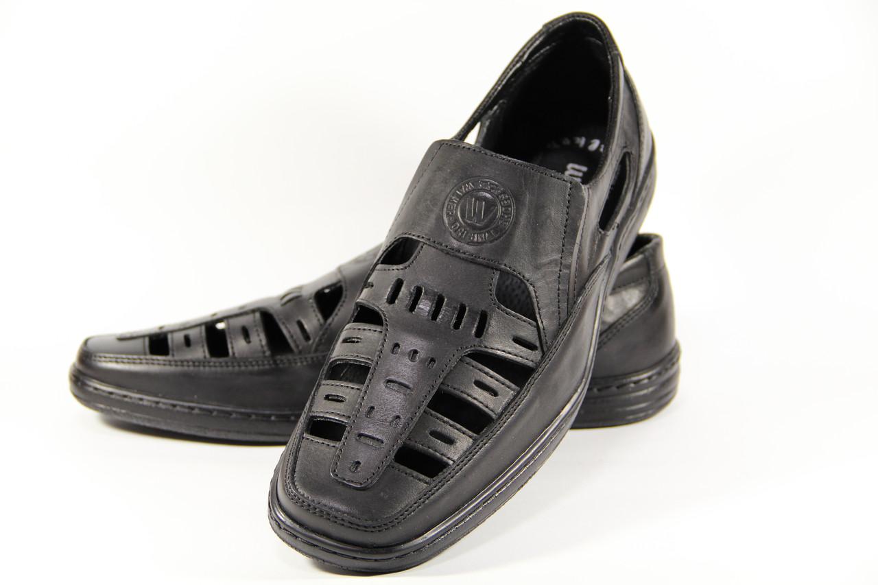 Летние мужские туфли из натуральной кожи на резинке ВОЛ черные +