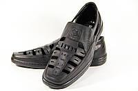 Летние мужские туфли из натуральной кожи на резинке ВОЛ черные