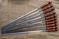 Шампура с деревянный ручкой плоский 700*13*3мм широкий  Пищевая нержавейка