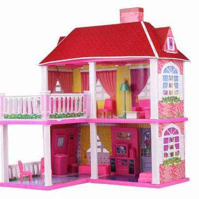 Кукольный домик 6980 с мебелью, 2-ва этажа и 5-ть комнат, р-р. 70х83.5х25.5