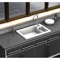 Мойка кухонная керамическая Sarreguemines Lingot Blanc +измельчитель Homfec