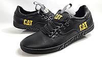 Мужские стильные кожаные кеды CAT чёрные, фото 1