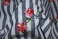 Ткань Лен полоса с вышивкой №2
