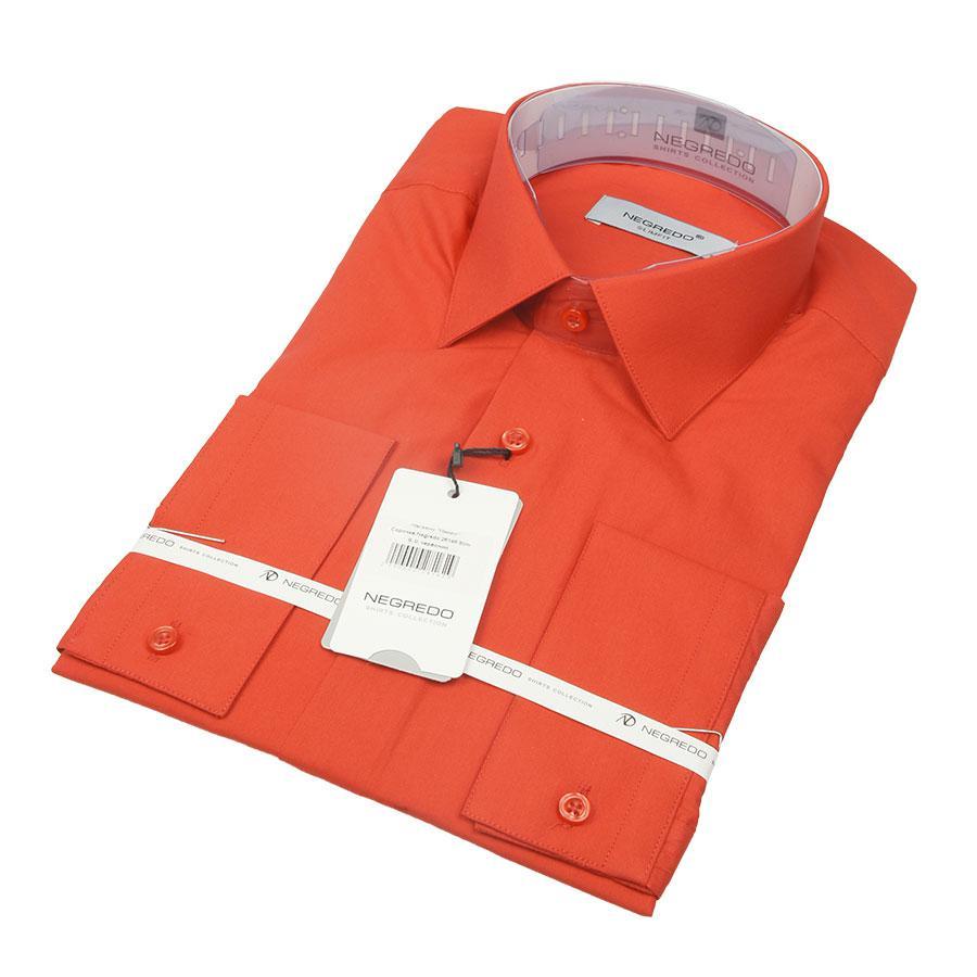 Красная приталенная мужская рубашка Negredo 26148 Slim