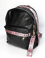 Рюкзак городской из искусственной кожи Fashion черно-розового цвета