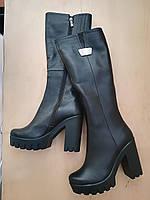 Зимние сапоги на каблуке из натуральной кожи №773-1