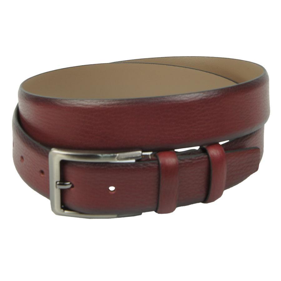 Классический кожаный ремень Bond 7090 бордового цвета