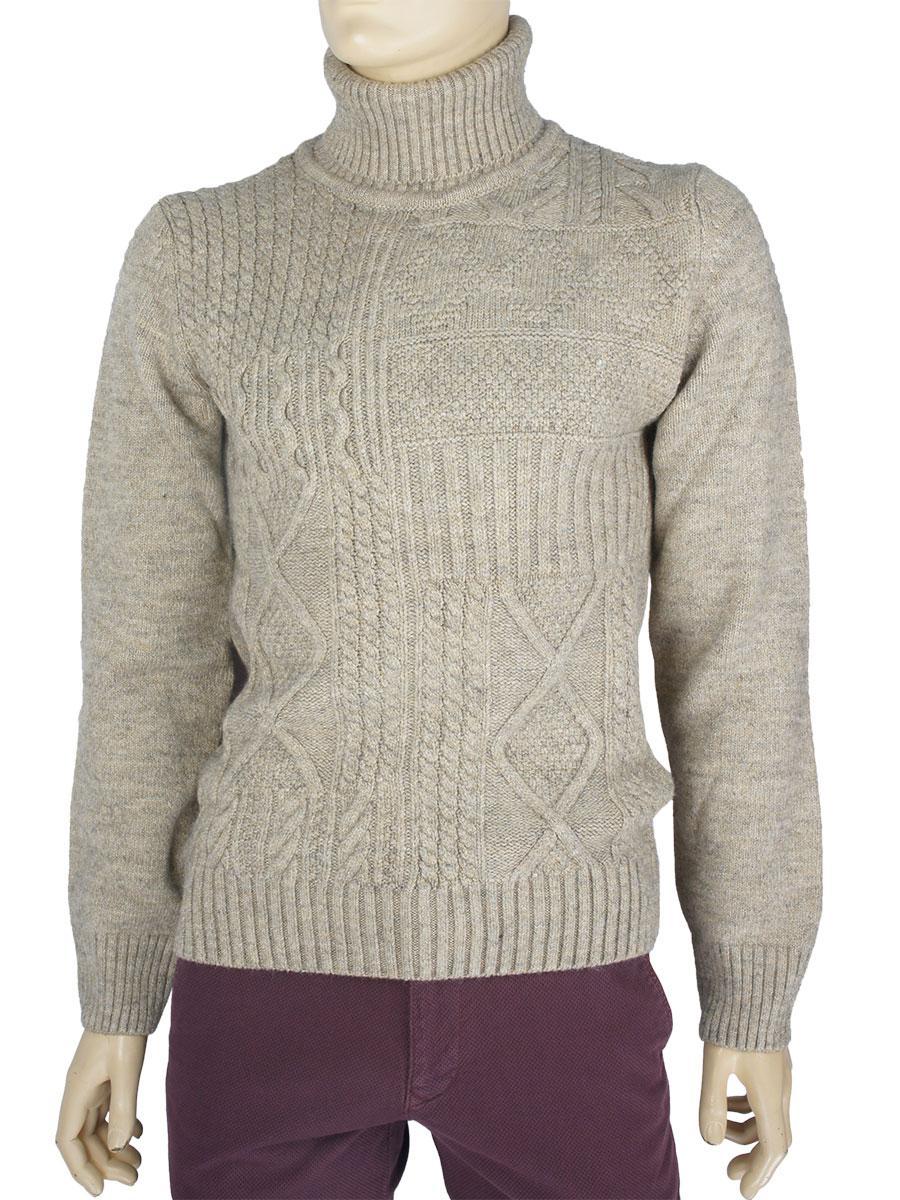 bbc60d15dbfab Зимний мужской свитер Bagutta 1456 в бежевом цвете - Магазин мужской одежды