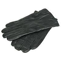 Черные мужские кожаные перчатки Зимушка 26015