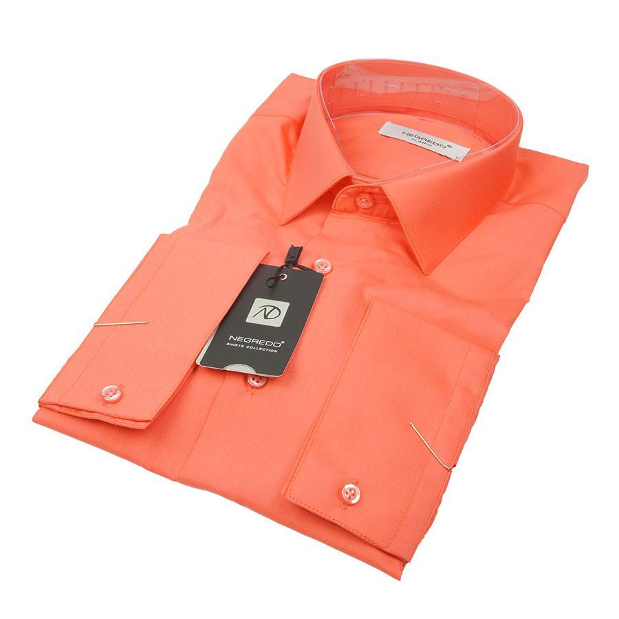Приталенная однотонная мужская рубашка Negredo 26258 Slim в коралловом цвете