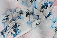 Ткань шелк армани молочный фон крупные цветы, фото 1