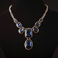 """Колье с кристаллами синий камень под """"золото"""" Код:574792890"""