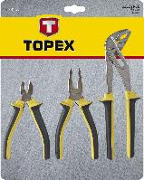 Набір шарнірно-губкового інструменту, 3 шт. (плоскогубці, кліщі, бокорізи) Topex 32D136