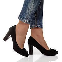 Туфли на высоком устойчивом каблуке из натуральной кожи, с бантиком. Размеры 36-41, модель S1829