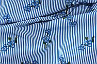 Ткань супер софт полоса №4 мелкий веточка рисунок -имитация вышивки , фото 1