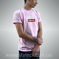 Футболка Supreme Pink | Бирка оригинальная | Розовая мужская