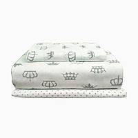 """Детский постельный комплект """"короны серые на белом"""" COSAS бязь 110х140"""