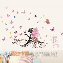 """Интерьерная виниловая наклейка на стену, для кафе в детскую """"Фея на ветке"""" (04364)"""