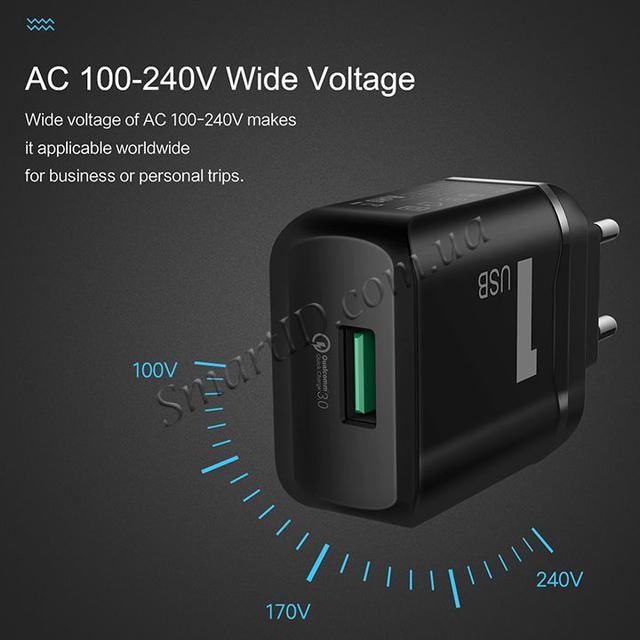 Rock QC3.0 Универсальное сетевое зарядное устройство Quick Charge 18W