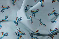 Ткань супер софт колибри мелкие фон нежно голубой, фото 1