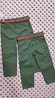 Детский стильные зеленые штаны с поясом для мальчика 1-4