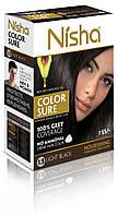 Безамиачная стойкая крем-краска для волос TM Nisha с маслом авокадо Светло-черная №1,5 40мл