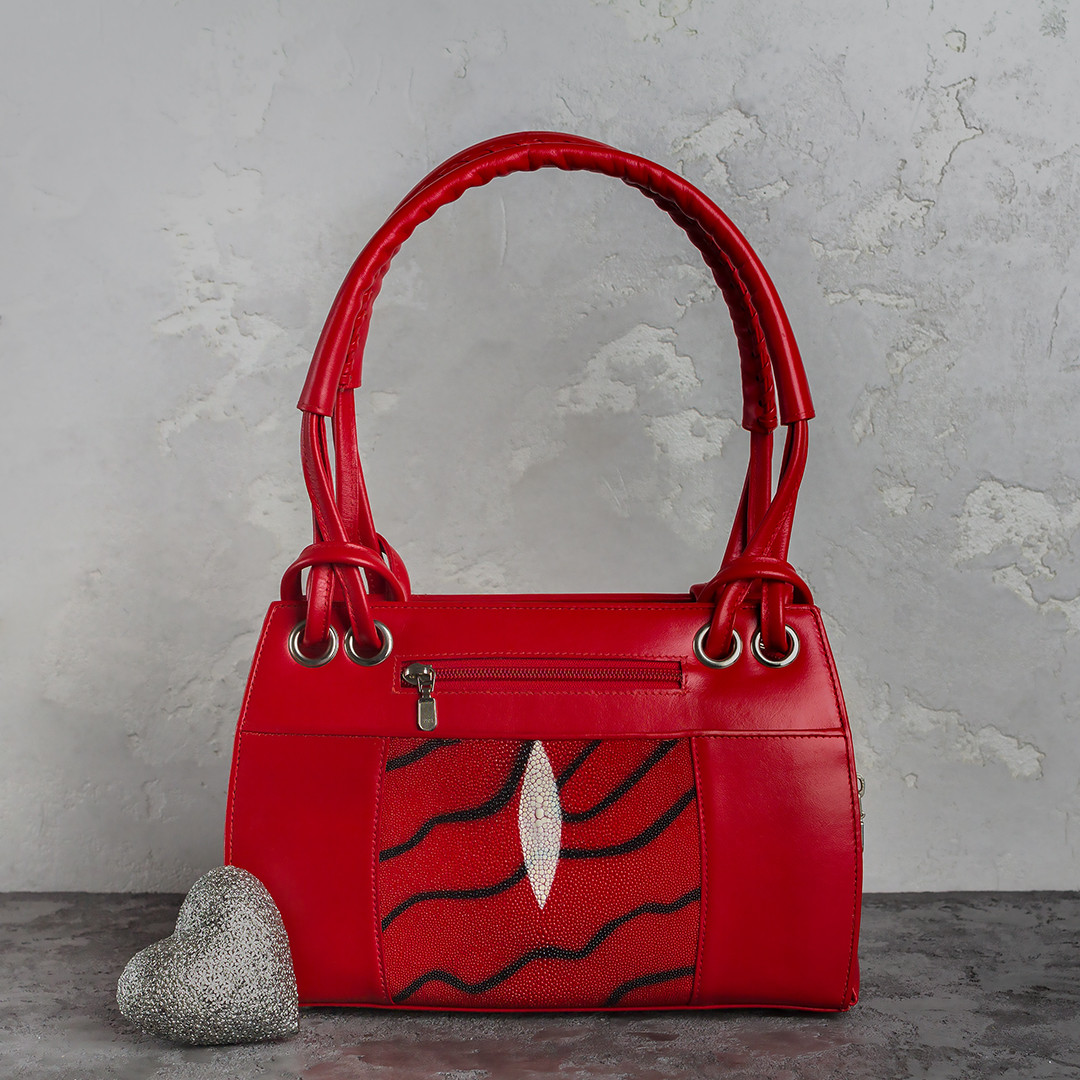 Сумка из кожи ската Ekzotic leather Красная (sb02)
