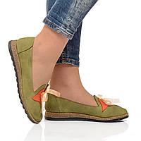 Туфли на низком ходу из натуральной кожи, тюльпан и лента завязки. Размеры 36-41, четыре цвета, модель S1052