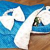 Кокон-гнездышко с белым бантиком + конверт-плед + ортопедическая подушка