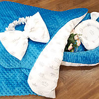 Кокон-гнездышко с белым бантиком + конверт-плед + ортопедическая подушка, фото 1
