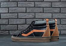 Мужские кеды Vans SK8 HI MTE Pelle Nera black/orange gum. ТОП Реплика ААА класса., фото 2