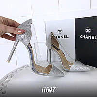 11647 Лодочки = Sili_one=, цвет: СЕРЕБРО,  материал: силикон + обувной текстиль  ( декор блестки ), произв. -