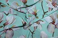 Ткань супер софт цветок яблока, фон ментол, фото 1