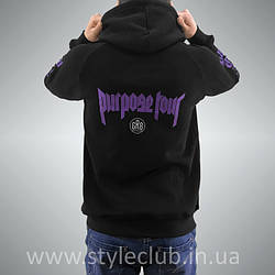 Толстовка чёрная STAFF Purpose The World Tour | худи пурпус | кенгурушка стафф
