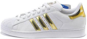 Женские Кроссовки Adidas Superstar Mujer White/Gold (люкс копия)