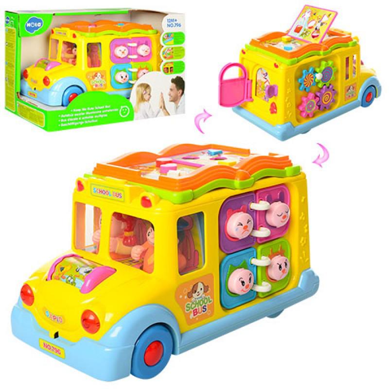 Детская музыкальная развивающая игрушка машинка Автобус, едет, музыка, свет, трещотка, 796