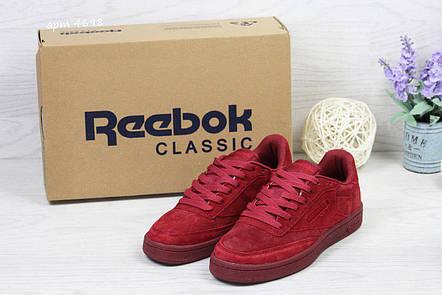 Женские замшевые кроссовки Reebok Naked,бордовые, фото 2