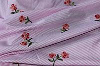Ткань рубашка полоса с вышивкой, розовая №1 100%ПЭ, фото 1