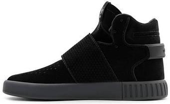 Мужские кроссовки Adidas Tubular Invader Strap Pirate Black (люкс копия)