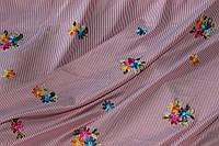Ткань рубашка полоса с вышивкой, красная №2 100%ПЭ, фото 1